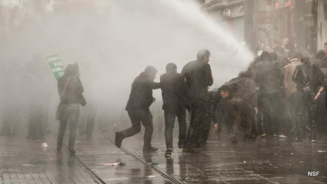 Water cannon used on protestors at Emek Theatre.  Photo credit Nazim Serhat Firat.  Used by permission
