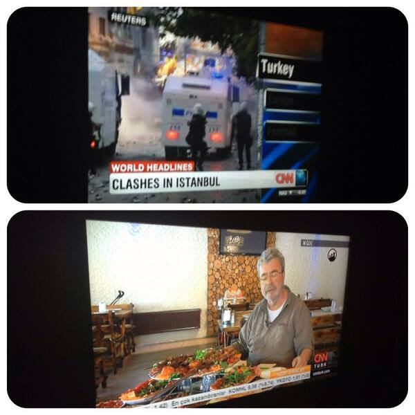 A comparison making the rounds on facebook: A cooking show on CNN Turk and graphic images from Taksim square on CNN International