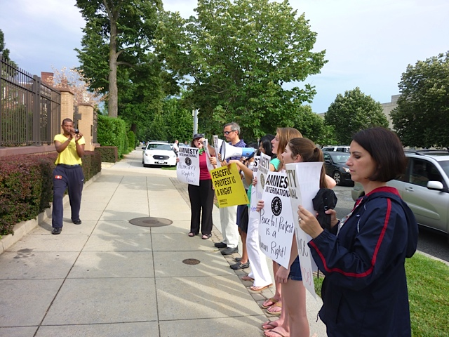 Amnesty protest at the Turkish embassy in Washington, DC