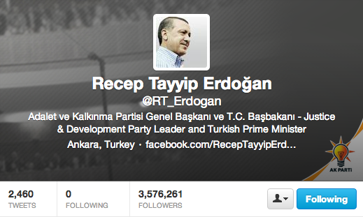 Prime Minister Erdogan's Twitter page is now presumably open for business