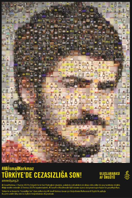 Calling an end to impunity in the case of Ali Ismail Korkmaz.  The image contains thousands of people worldwide who have joined in our campaign.