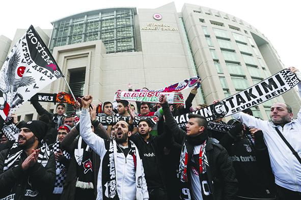Start of Besiktas' soccer fans Carsi members trial in Istanbul