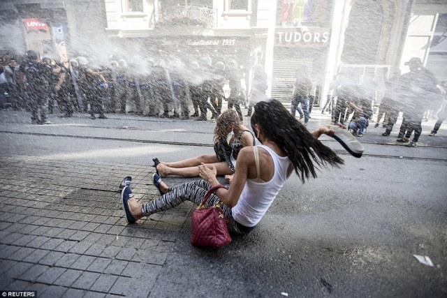"Reuters: ""Resistance: Turkish riot police fired watercannons, rubber pellets and teargas as a gay pride parade in Istanbul descended into violence"